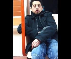 Spy wank on train