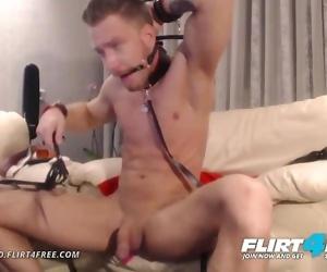 Steve Blond on Flirt4Free - Hot Euro Stud Tortures Himself with Bondage