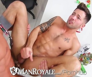 ManRoyale Christmas office party fuck with two hunks