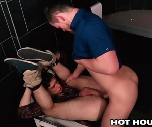 Michael Delray and Kurtis Wolf Both Jerking off in Public Bathroom
