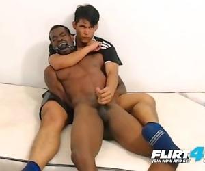 Tairon & Alexandro on Flirt4Free - Ebony Flexes Muscles as Latino Jerks BBC
