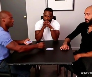 NextDoorEbony Hung Black Hunks Strip Poker 3Way!