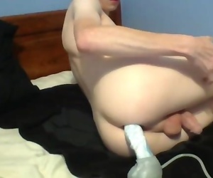Twink Boy Takes a Massive Creampie From His Bad Dragon Toy
