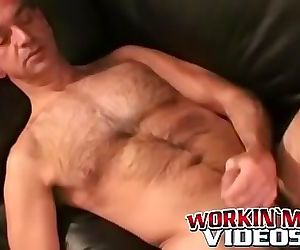 Big cock masturbation making hairy stud cumshot 8 min
