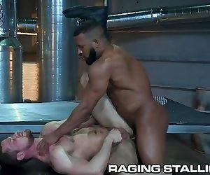 RagingStallion Black Muscle Daddy Barebacks A White Hairy Hole