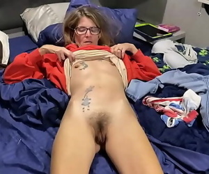 Lean inked granny with hairy pussy quickie creampie 3 min..