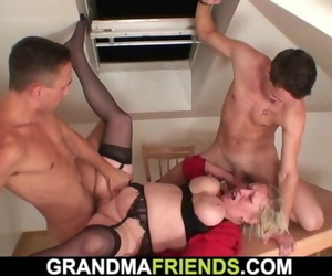 Two Repairmen Share Busty very old Granny