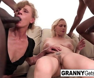 A duo of nasty grannies get fucked in the nut sack by Big..