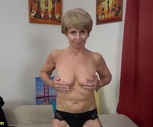 Skinny 75 years old grandma very first time on movie 12..