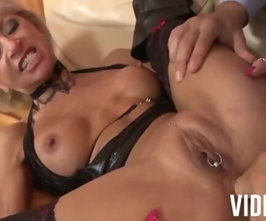 Granny with Pierced Pussy Takes a Big Shaft in the Ass!