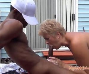 Short Hair Mature Granny Suck and Pound Big black cock..
