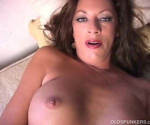 Nasty old spunker plays with her tasty vagina for you