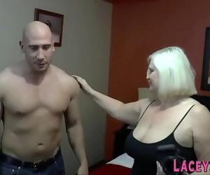 Cock blowing british granny titfucks