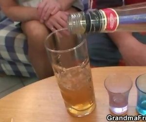 Partying Dudes Lure Granny into Threesome