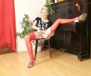Blond Mummy in Red Blossom Kinky Dildo Act