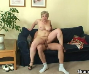 Lonely Granny Sucks and Rails his Naughty Hard-on