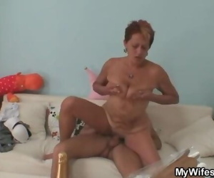 Dick Greedy Mom in Law Gets Squirted Riding