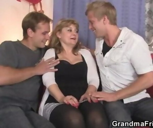 Mature Honey in Pantyhose Takes two Mushy at once