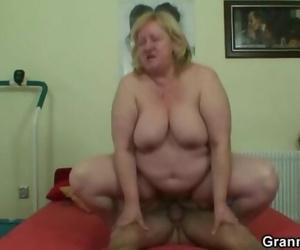 Huge Grandma Swallows his Naughty Cock