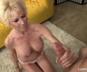 Topless Granny Splooged with Cum