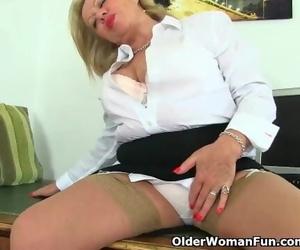 English GILF Camilla Gushes her Office Skills