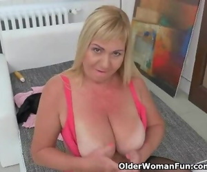 European GILF Pem Undresses off and Fake penises her old..