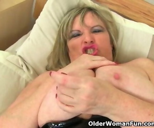 British MILF Alisha Rydes Wanks in Fishnet Tights