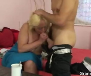 Blonde Without bra her Fur covered old Beaver for him