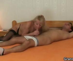Youthful Guy Picks up and Pounds Blonde Granny