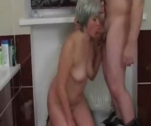 Mature Girl Creampied Doggystyle in the Bathroom