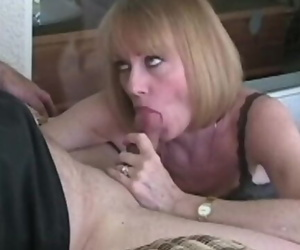 Granny Fake penis and Blowjob Action Satisfies his Cock