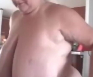 Thick Titted Granny Plays with herself