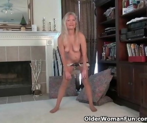 Next Door Granny Claire Peels off off and Plays with her..