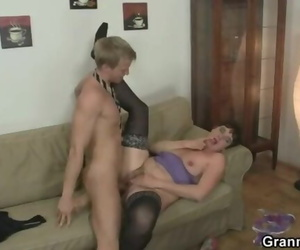 Old Mother Spreads Legs for Young Cock