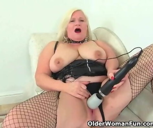 English Granny Lacey Starr using her Vibrator Vibrator