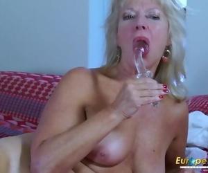 EropeMaturE MILF Blonde Playing alone with Fake penis
