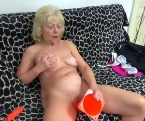 Old Round Granny in the Couch has Sex with Nasty Man