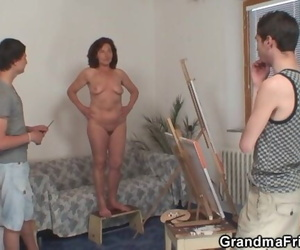 Old Woman Sucking and Riding Gawp Teen Cocks