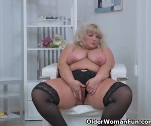 Plumper MILF Renatte Rubs her Big Tits and Hungry Pussy