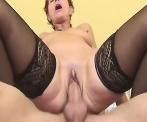Sexy Granny Maid in Sexy Stockings Anal Pounded