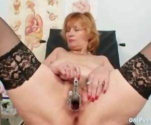 Redhead Granny Dirty Cunt Spreading in Gyn Clinic