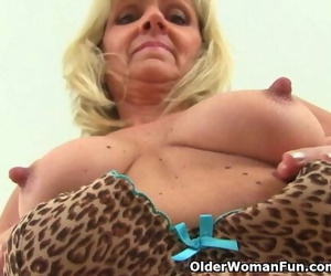 British GILF Dolly Pushes a Faux-cock up her Fanny