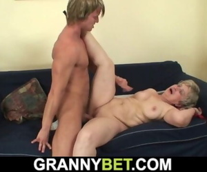 60 Years old Granny Gulps his Big Cock