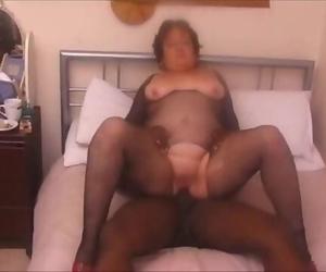 Big Grandma Bitchy by Ebony Bull while Husband Recording..