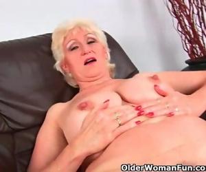 Grandma in Rosebutt Caresses her Big Boobs and Finger..