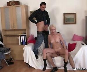 Lean Granny Ash-blonde Takes 2 Cocks