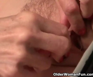 Thin Granny Bossy Rider Strips off and Showcases you her..
