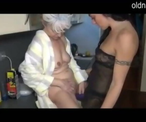 Granny and Girl Screwing in the Kitchen