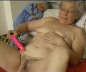 Aged Granny Toying with her Toy