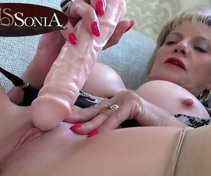 Sexy Mature Lady Sonia Tickling her Bean